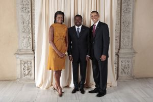 President Barack Obama and First Lady Michelle Obama pose for a photo during a reception at the Metropolitan Museum in New York with Faure Gnassingbe, President of the Togolese Republic, September 23, 2009 (Lawrence Jackson/White House)