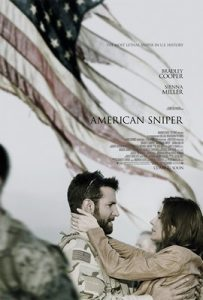 A poster for the film American Sniper directed by Clint Eastwood and starring Bradley Cooper in the title role