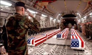 US Iraq war casualties in a C-17 Globemaster III at Dover Air Force Base.
