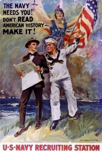 World War I U.S. Navy propaganda poster (1917 or 1918) by American artist and illustrator James Montgomery Flagg (1877-1960).