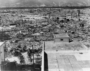 Hiroshima, Japan, after the US dropped a nuclear bomb on the city.