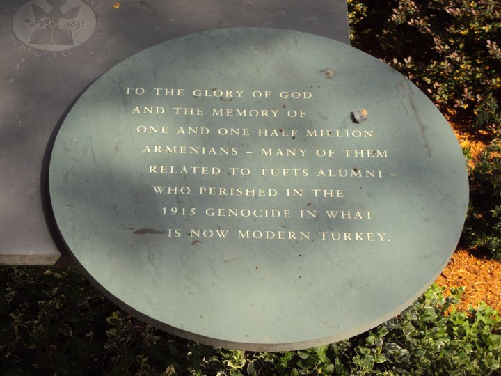 "The Armenian Genocide commemorative memorial at the Goddard Chapel, Tufts University. The plaque reads, ""To the glory of God and the memory of one and one half million Armenians - many of them related to Tufts Alumni - who perished in the 1915 Genocide in what is now modern Turkey."" (Photo: Grigor Boyakhchyan)"