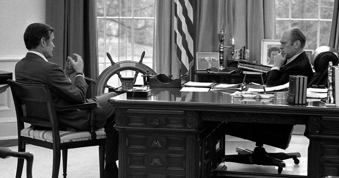 President Ford meets with CIA Director-designate George H. W. Bush, December 17, 1975.