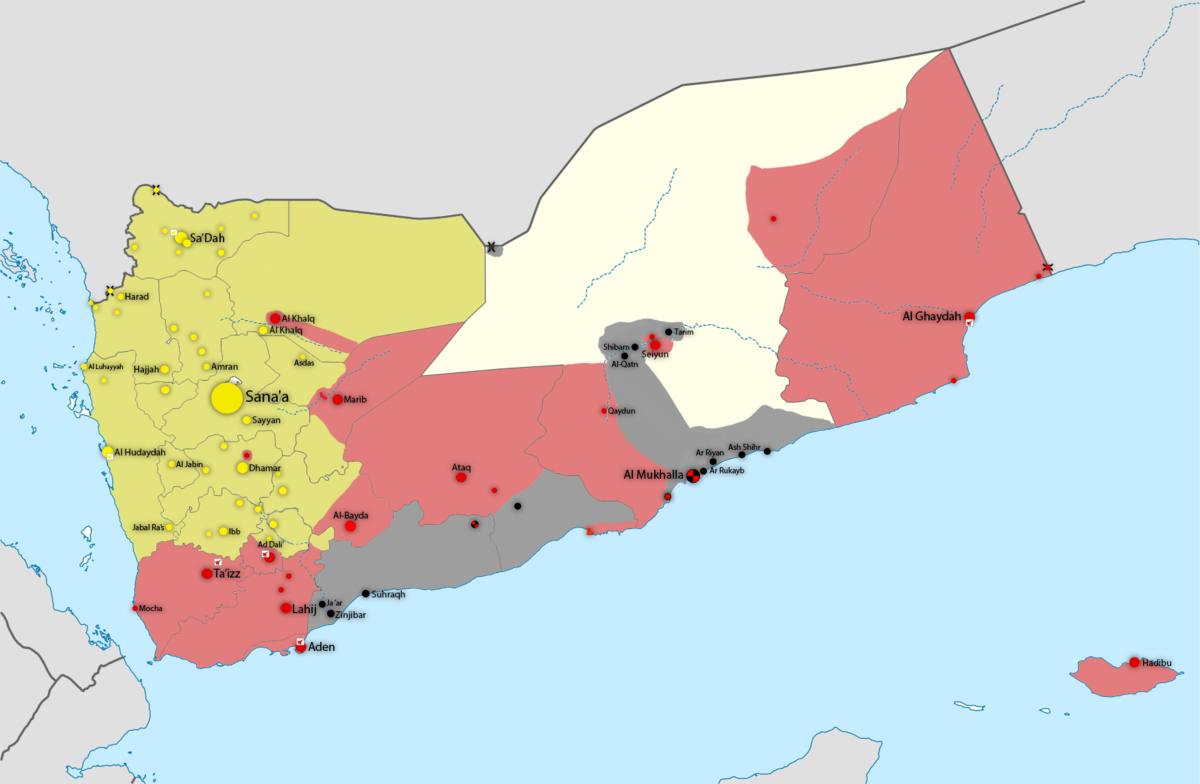 Map showing division of territory in Yemen: green is controlled by ...