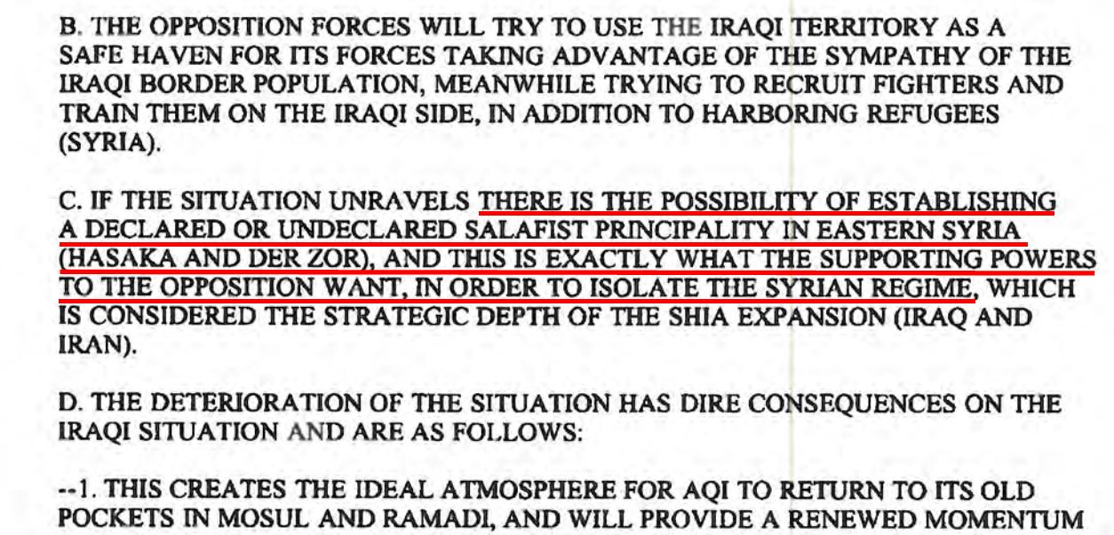 "West will facilitate rise of Islamic State ""in order to isolate the Syrian regime"": 2012 DIA document"