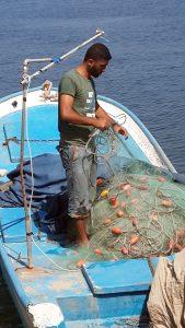 A Gaza shipman on his vessel.