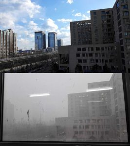 View outside the author's office window 24 hours apart in December 2015. PM2.5 index: top picture 30, bottom picture 603.