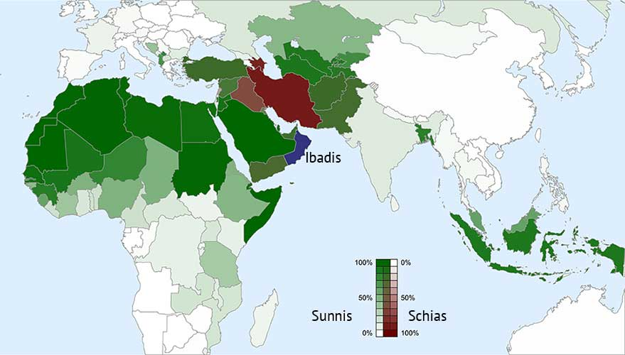 Geographical distribution of the main denominations among the Muslim world. (Baba66, NNW/licensed under CC BY-SA 3.0 [edited].
