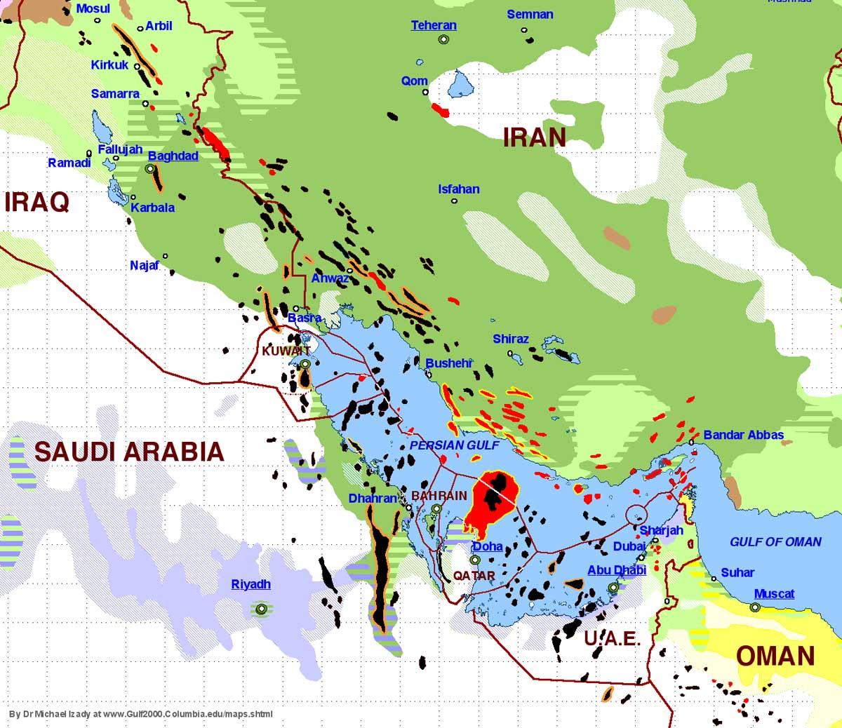 Oil (black) and gas (red) deposits are mainly found under predominantly Shiite populated areas (dark green). Sunni areas are highlighted in light green, Wahhabi (a Sunni branch) in purple. Here you find a map of the wider region. Source: Dr. Michael Izady at Columbia University, Gulf2000, New York.