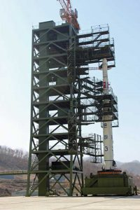 North Korea's Unha-3 rocket ready to launch at Tangachai-ri space center on April 8, 2012. (Voice of America)
