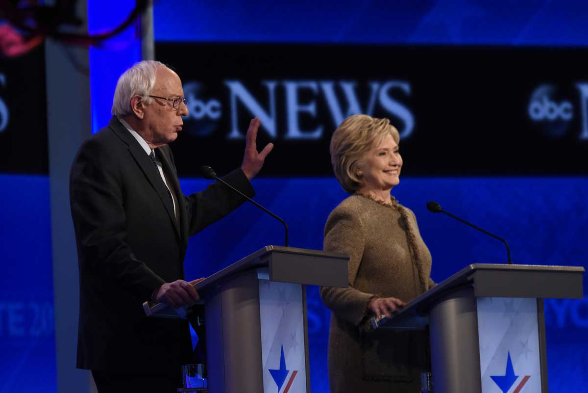 Bernie Sanders and Hillary Clinton during the Democratic presidential debate on December 19, 2015 (Ida Mae Astute/ABC/licensed under CC BY-ND 2.0)