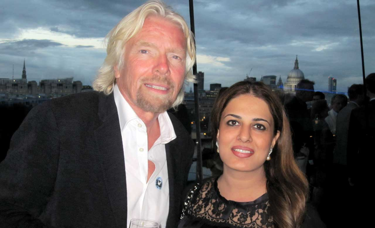 Sir Richard Branson and Namira Salim during a recent Virgin Galactic event in London. (© Namira Salim 2008)