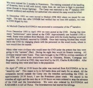 Excerpt of the testimony of a former RPF soldier to the ICTR