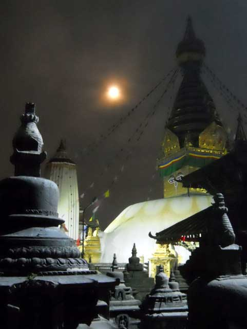 Kathmandu's Monkey Temple under a full moon (Photo: Alonzo Lyons)