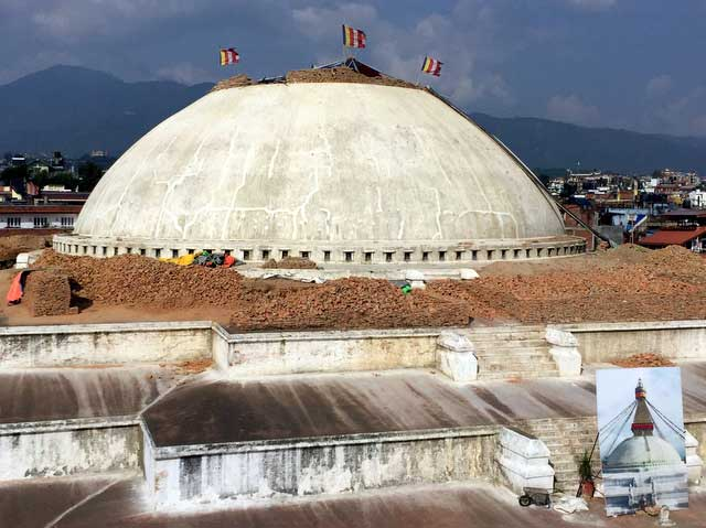 Reconstruction of Bauddhanath—one of Asia's most significant Buddhist monuments (Photo: Alonzo Lyons)