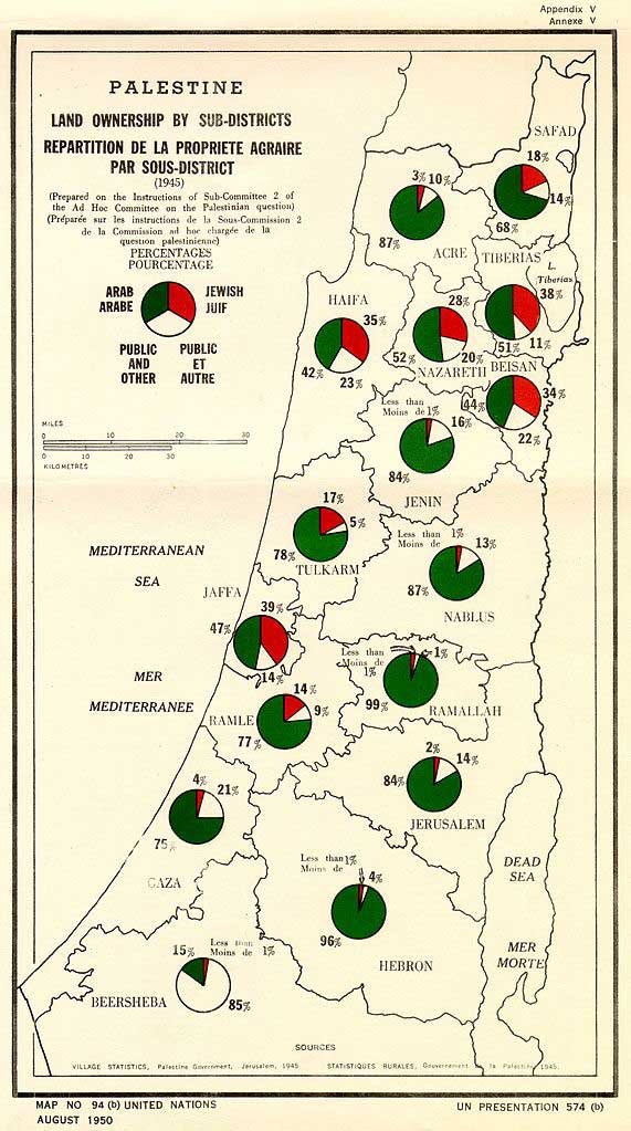 Palestine Land Ownership by Sub-Districts (1945), UN Map No. 94(b), August 1950