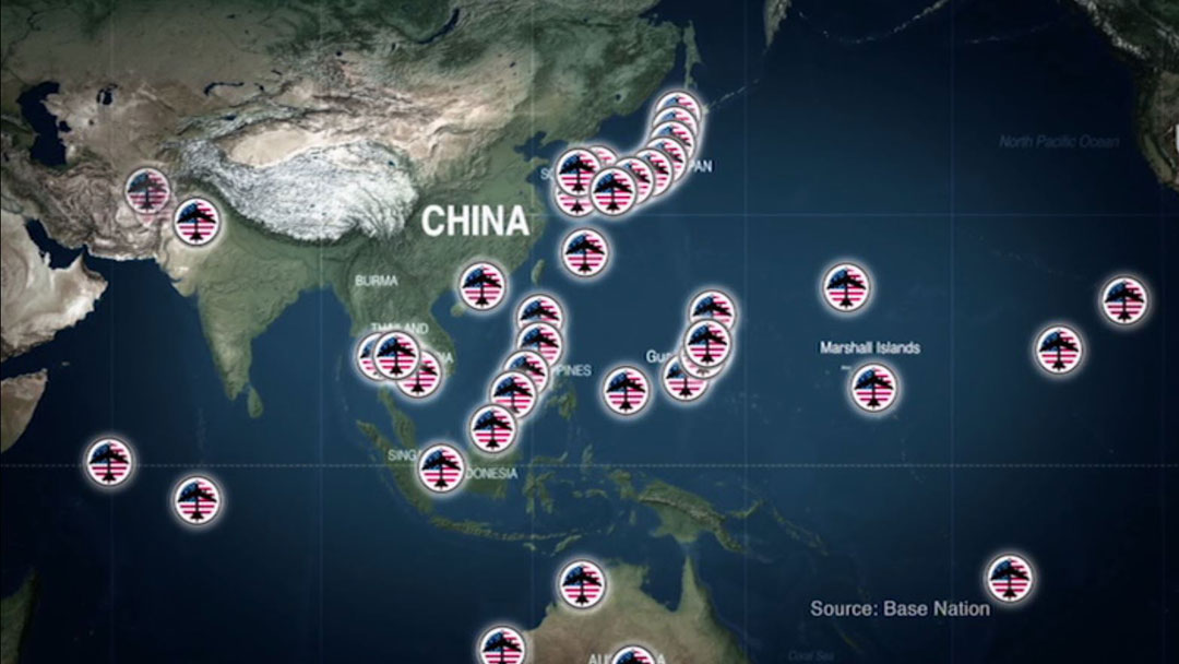 "A map from John Pilger's film ""The Coming War on China"" showing US military bases surrounding China."