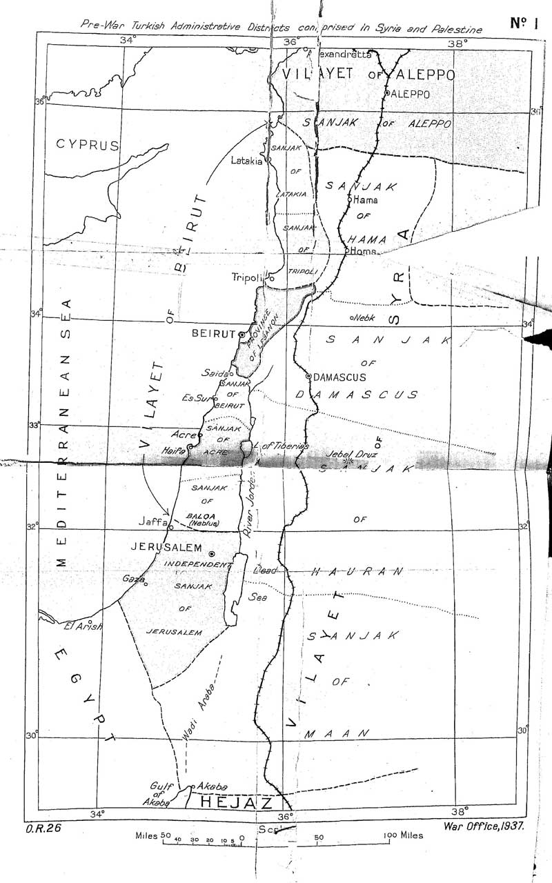A map of Palestine under the Ottoman Empire, from the report of the Peel Commission Report of 1937