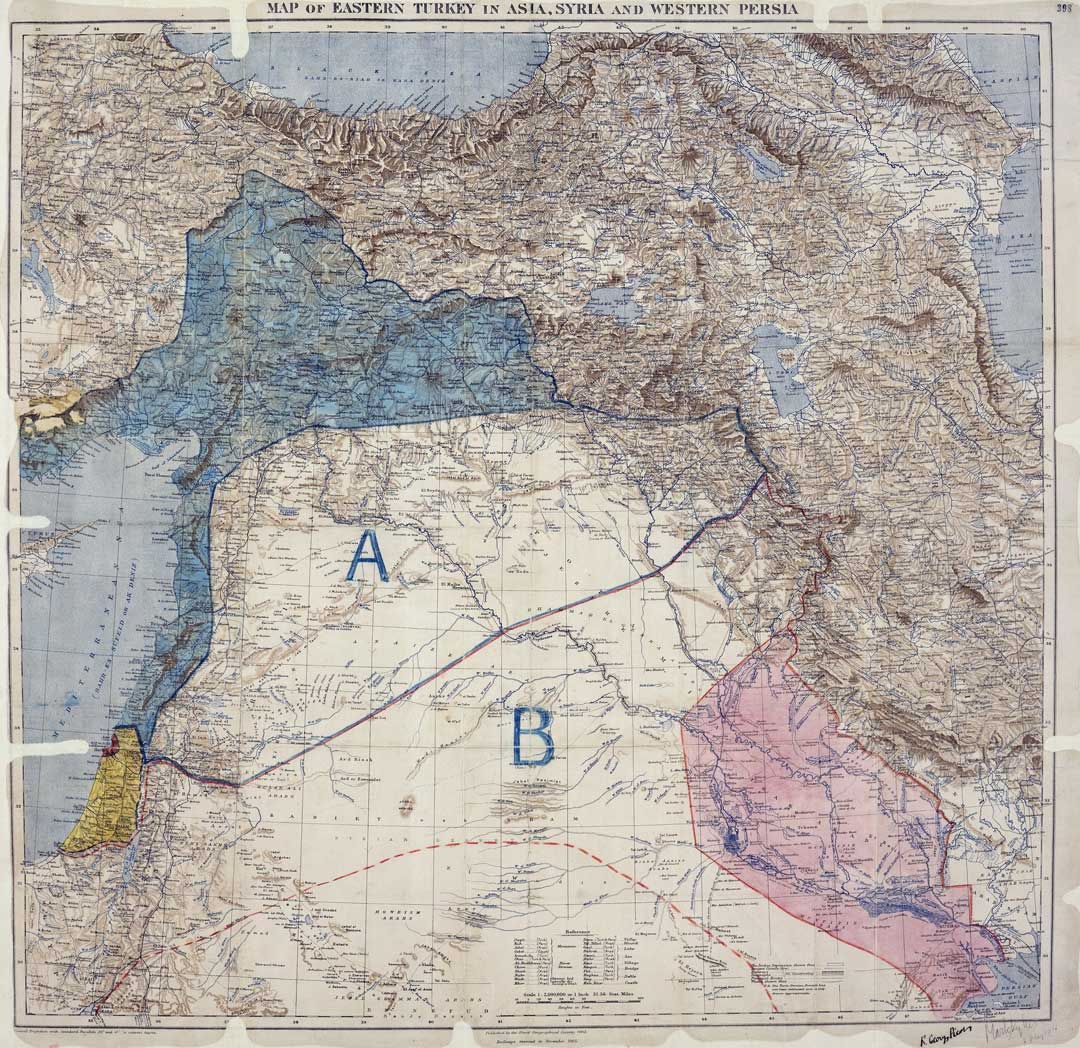 A map showing how Great Britain and France intended to divvy up the territorial spoils of war in the Middle East under the Sykes-Picot Agreement of 1916 (UK National Archives)