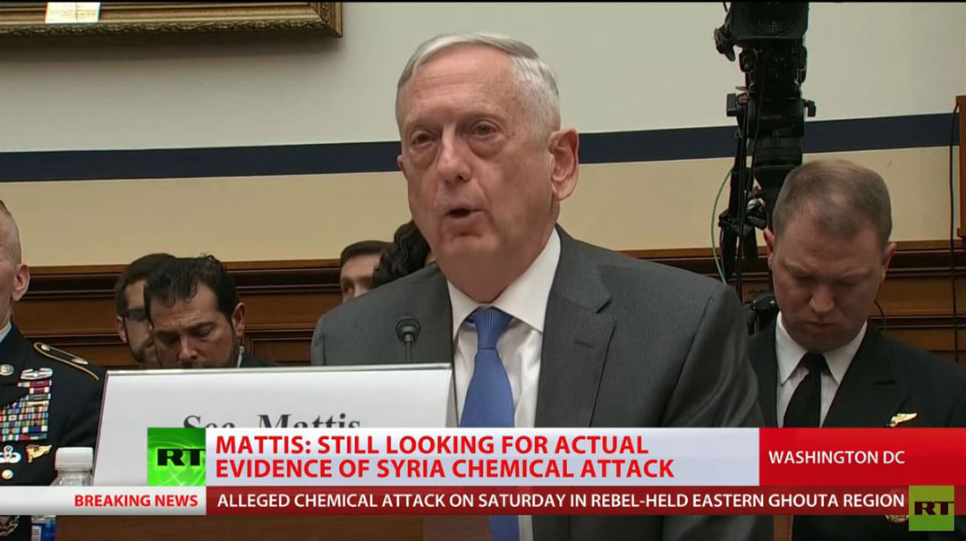 US Secretary of Defence James Mattis (Screen capture from RT video on YouTube)