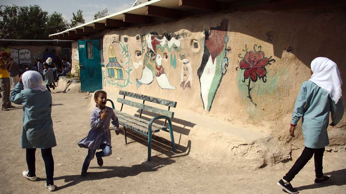 The school in the Bedouin village of Khan al-Ahmar in the Israeli-occupied West Bank (Peter Tkac/CC BY-SA 2.0)